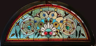 Antique American Stained and Jeweled Floral Arched Transom