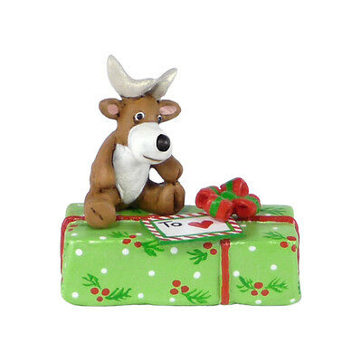 GIFT WITH REINDEER by Wee Forest Folk, WFF# A-35, Limited Edition 2015