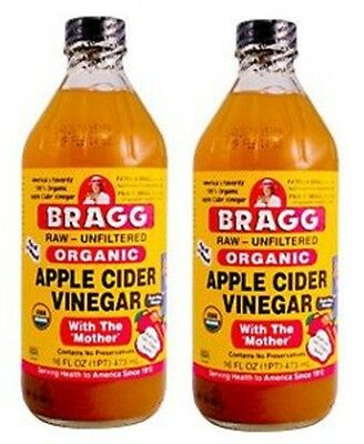 2 x Bragg Organic Apple Cider Vinegar 946ml withThe Mother, Raw & Unfiltered