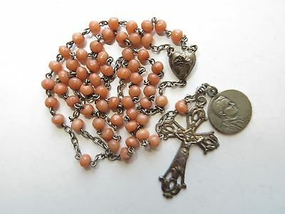 """1890's Sm Antique Mediterranean Coral Beads Rosary in St Silver-12"""" long/Medal"""