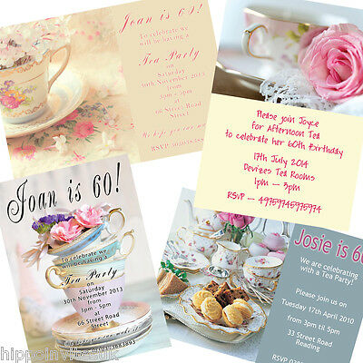 50 x PERSONALISED Birthday Afternoon Tea Party Invitations with envs
