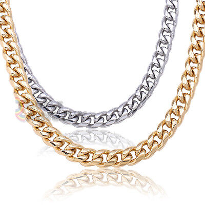 """18-36/""""Men/'s Stainless Steel Gold//Silver 10mm Miami Cuban Link Chain*C18"""