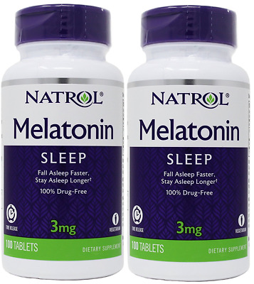 2X Natrol MELATONIN STRESS RELIEF SLEEP AID 3 mg total 200 Tablets Time Release