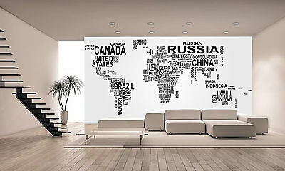 World Map with Country Name Wall Mural Photo Wallpaper GIANT DECOR Paper Poster