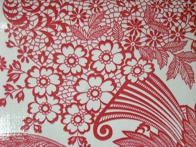 Red Paradise Lace Floral Ornate Retro Style Oilcloth Vinyl Fabric Material Bty