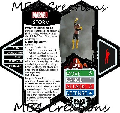 Heroscape Custom Marvel Storm X-Men Figure with Double-Sided Card