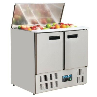 Polar Stainless Steel 2 Door Refrigerated Pizza Prep Counter 240Ltr 900mm G606