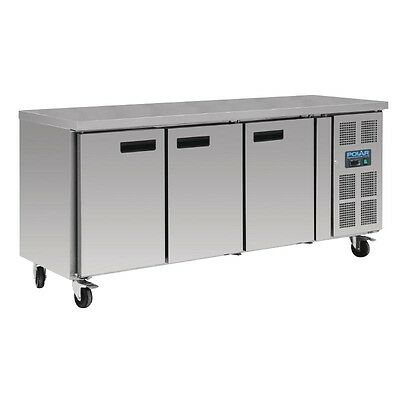 Polar Stainless Steel 3 Door Refrigerated Gastro Counter Freezer 417 Ltr G600