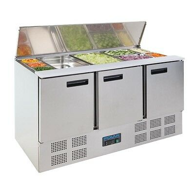 Polar Stainless Steel 3 Door Refrigerated Saladette Counter 368Ltr G607