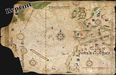 Wall Art  Old World Nautical Map of Portuguese  Year 1504c    11x17