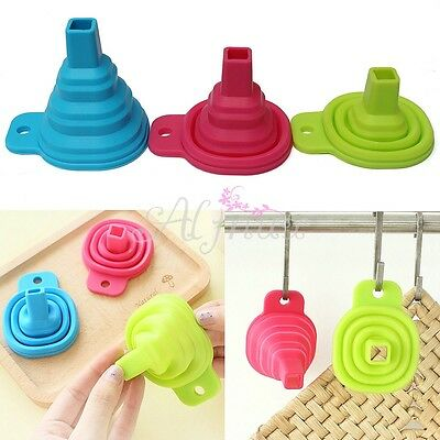 Silicone Gel Practical Collapsible Foldable Funnel Hopper For Kitchen Tools