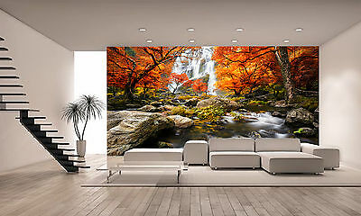 Waterfall in the Autumn Wall Mural Photo Wallpaper GIANT DECOR Paper Poster