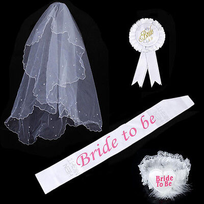 2016 Bride To Be Hen Night Party Accessory White Veil Badge Sash Lace Garter Set