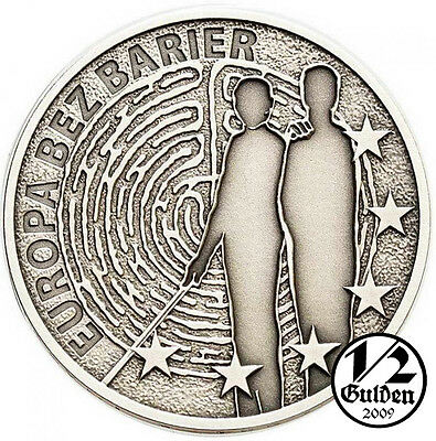 POLAND 10 Zlotych 2011 Europe Without Barriers Silver Antique Coin Oxidised