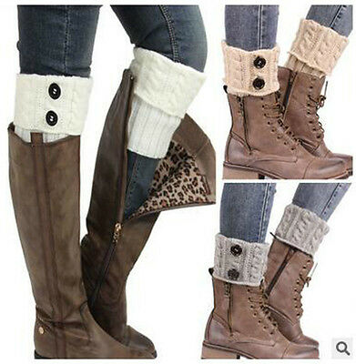 BOOT TOPPERS LEG WARMERS Wellies Button Knit Winter Socks slouch 6 Colours