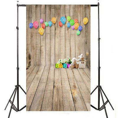 3x5FT Balloon Bear Wood Floor Photography Background Photo Backdrop Studio Props