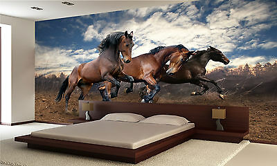 Photo Wallpaper Wild Jump Bay Horses GIANT WALL DECOR PAPER POSTER FOR BEDROOM