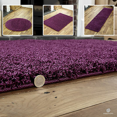 Small To Extra Large Thick 5Cm High Pile Non-Shed Aubergine Shaggy Purple Rug