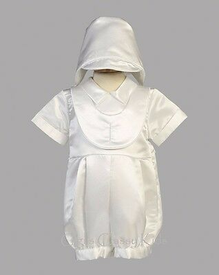 New Baby Boys White Satin Romper Suit Outfit Set Hat Christening Baptism 8610