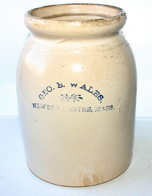 Early Geo. E. Wales pottery storage jar from Newton Centr, Mass