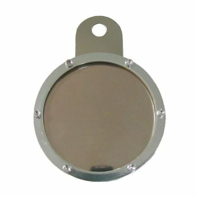 Tax Disc Holder Round 6 Screws, Red Glass, Chrome Backing