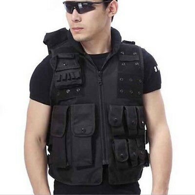 Tactical Vest Black for Hunting, Police, SWAT with pistol / gun holster, Pouches