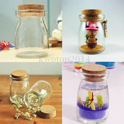 Mini Small Clear Glass Storage Bottle Jars Vial Container With Cork Stopper NEW