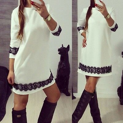 Ladies Womens Casual Pencil Party Evening Cocktail Short Mini Lace Bodycon Dress