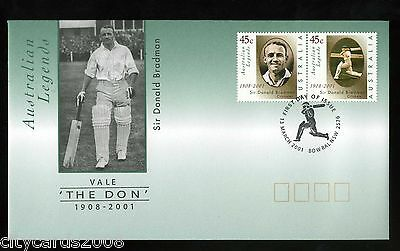 2001 CRICKET  Australia - Don Bradman 1908-2001  Illustrated First Day Cover