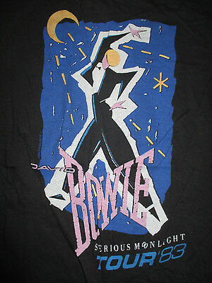 "1983 Original DAVID BOWIE ""SERIOUS MOONLIGHT"" Concert Tour (MED) T-Shirt ZIGGY"