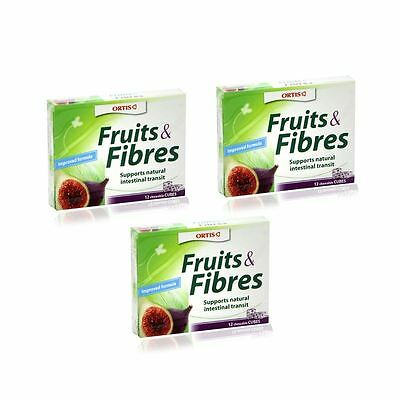Ortis Fruits and Fibres | Chewable Fruit Cubes - 3 Packs of 12