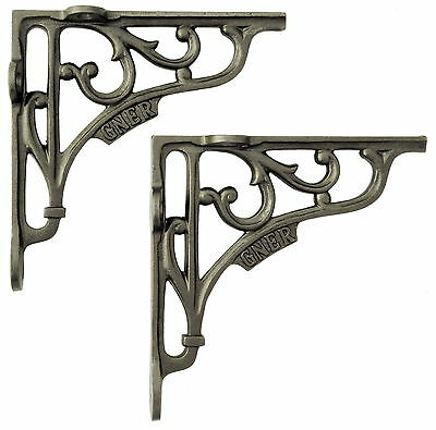 "Pair 6"" / 15cm Cast Iron GNER Railway Shelf Brackets – antique decorative style"