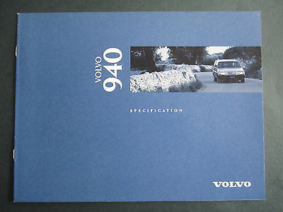 VOLVO 940 - 1995 UK SPECIFICATION BROCHURE for Petrol Diesel. Turbo
