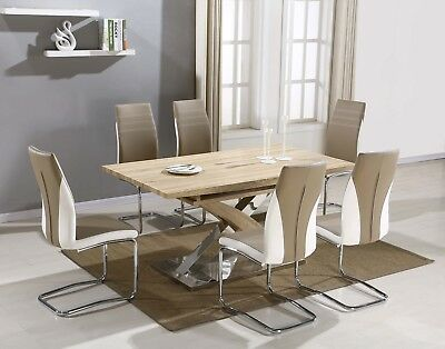 Piazza Glass Dining Room Table Set with 4 or 6 Faux Leather Chairs