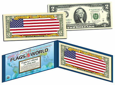 UNITED STATES USA - Flags of the World Genuine Legal Tender U.S $2 Bill Currency