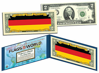 GERMANY - Flags of the World Genuine Legal Tender U.S. $2 Bill Currency
