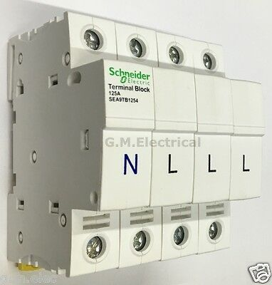 Schneider Acti9 125 Amp 4 Pole 3 Phase & Neutral Terminal Block Ikq Loadcentre