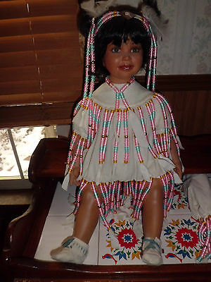 """Rustie Native American Little Feather 24"""" tall porcelain doll free shipping"""