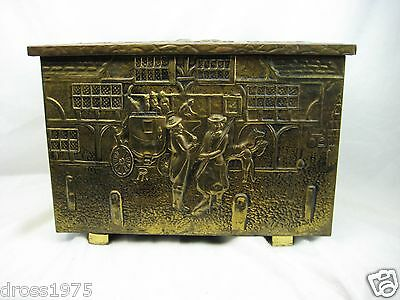 Antique Hand Hammered Brass British Colony Scene-Coal & Kindling Box-Repoussed