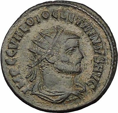 DIOCLETIAN receiving Victory from Jupiter 286AD Rare  Ancient Roman Coin i51076