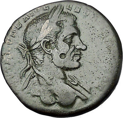 MACRINUS with Globe & Spear 217AD Nicopolis ad Istrum Ancient Roman Coin i50929