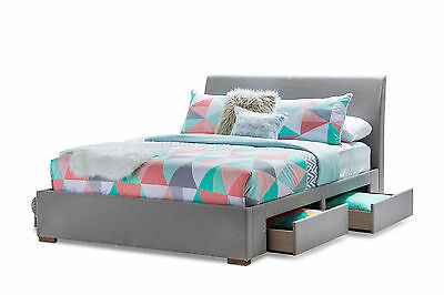 Fabric 4 Drawer Storage Queen Size Bed Frame - Modern, Contemporary