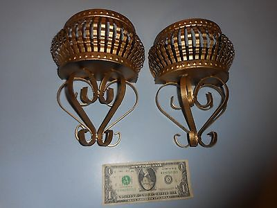 Pair Of Decorative Metal Mid-Century Wall Pockets With Interesting Metalwork.