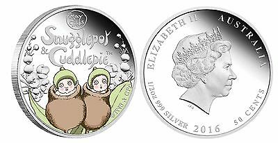 2016 Australia SNUGGLEPOT & CUDDLEPIE 1/2 oz SIlver Proof 50c Coin Colorized