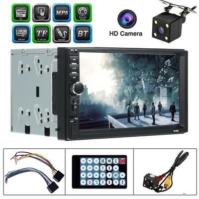 """Double 2 DIN 7"""" Touch Car Stereo Radio FM MP5 Player Bluetooth USB Aux HD Camera"""