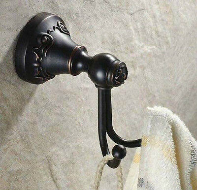 NEW Oil Rubbed Bronze Bathroom Towel Hook Wall Mounted Dual Pegs Holder