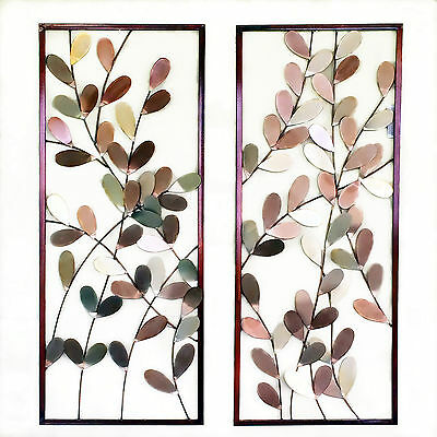 Pair of Metal Wall Art Framed Wall Sculpture/ Wall Decor Leaves Tree 86cm Large