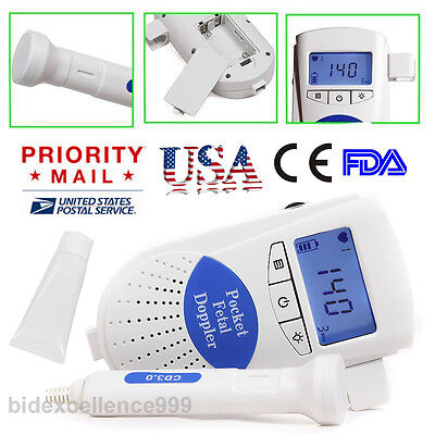Best Sale Fetal Doppler Baby Heart Monitor 3MHz Probe LCD Backlight Gel CE FDA