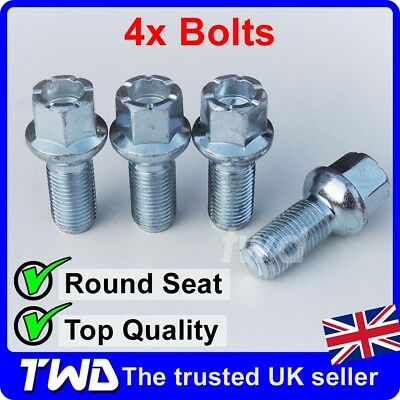 4 x ALLOY WHEEL BOLTS FOR AUDI (M14x1.5) ROUND RADIUS SEAT LUG STUD NUTS a[R10]