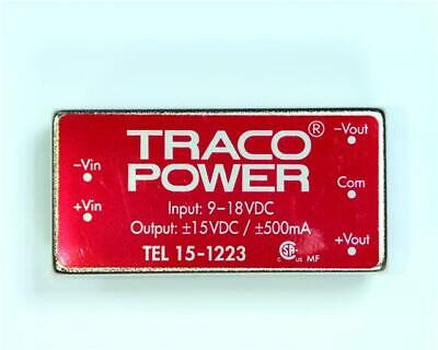 TRACOPOWER TEL 15-1223 15W Isolated DC-DC Converter Vin 9-18V DC, Vout ±15V DC